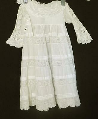 Victorian-Edwardian White Cotton & Lace French Christening Gown For Infant