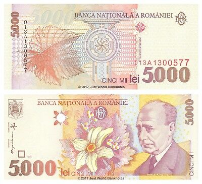 Romania 5000 (5,000) Lei 1998 P-107 Mint UNC Uncirculated Banknotes