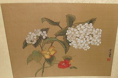 Japanese White Floral Watercolor On Silk Painting Signed