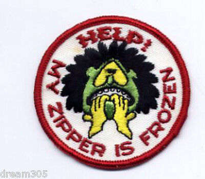 "Vintage Snowmobile Patch! Ski ""HELP MY ZIPPER IS FROZEN"" Snowboard Hiking! Funny"