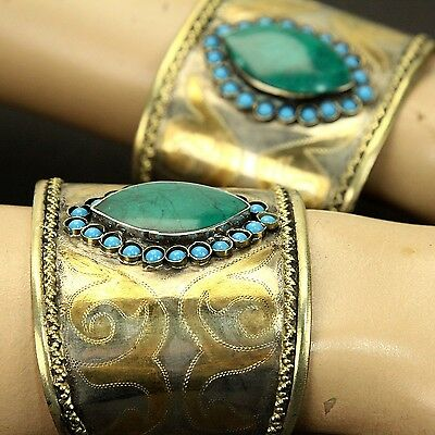 BRACELET Pair (2pc) Turkman Tribal Gold Plated BellyDance Real MALACHITE 838a88