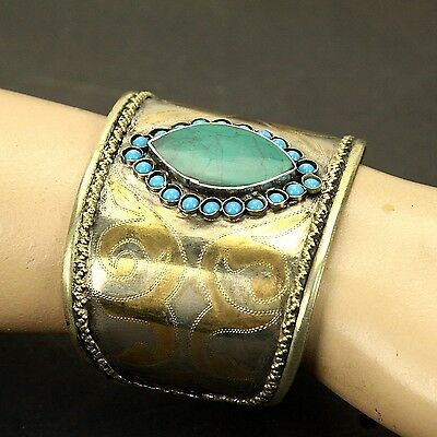 Single Turkman Tribal Gold Plated BRACELET BellyDance Real MALACHITE Stone 838a8