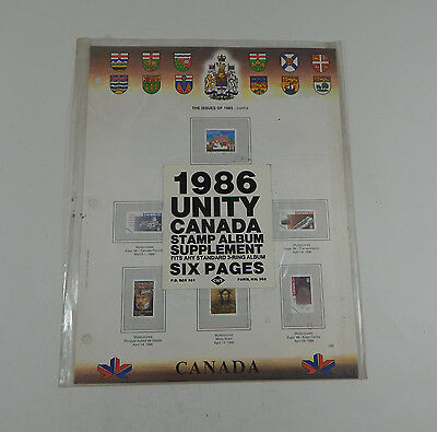 Canadian Wholesale Supply Unity Canada Postage Stamp Album 1986 Supplement Six