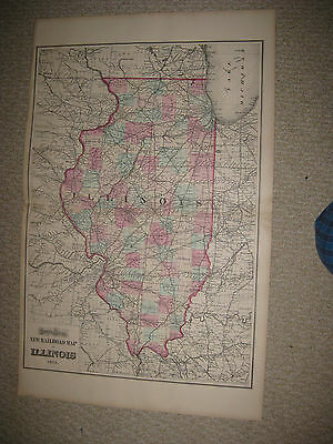 Huge Antique 1873 Illinois Railroad Grays Handcolored Map Chicago Date In Title