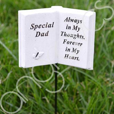 Special Dad Memorial Book Tribute Stick with Message Grave Graveside Plaque