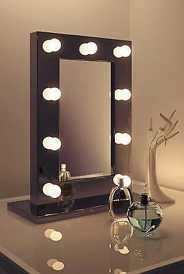 Diamond X Gloss Black Hollywood Makeup Mirror Warm White Dimmable LED k218WW
