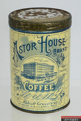 Vtg Astor House Hotel Coffee Tin Biscotti Tan Peacock Blue Vintage Graphics Y1X