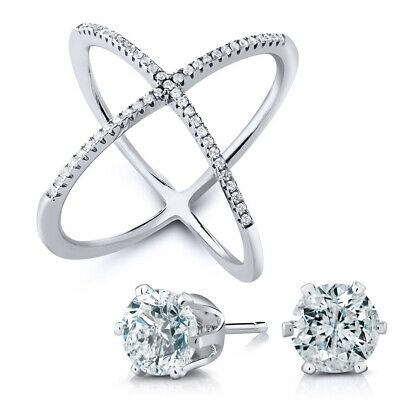 """925 Sterling Silver White CZ Criss-Cross Single """"X"""" Ring with Free Studs as Gift"""