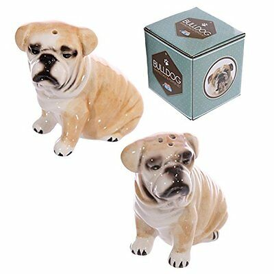 Bulldog Shaped Ceramic Salt And Pepper Pots Shakers Novelty Fun Dog Breeds