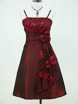 Cherlone Plus Size Red Prom Ball Evening Bridesmaid Knee Length Dress 18-20