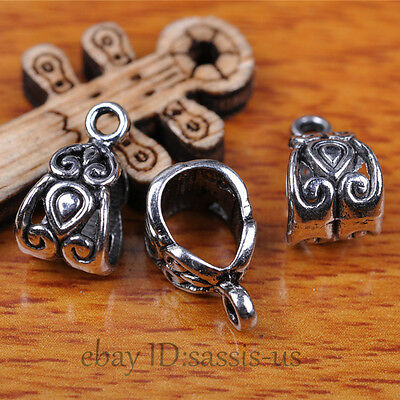 50pcs Charms Tibet Silver Connector Bail Heart Pandent DIY Jewery Making A7289
