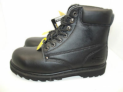 Mens 'bulldoze' Goodyear Welted Black Leather Steel Toe Safety Work Boots Uk 8
