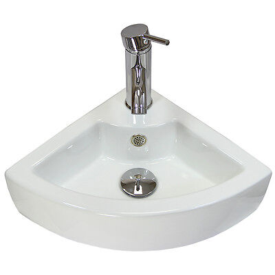 Cloakroom Hand Sink Corner Wash Basin Bathroom Wall Mounted Small Ceramic Bowl