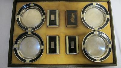 Art Deco Solid Sterling Silver Set 4 Matchbox Covers & Ash Trays Usa C 1900