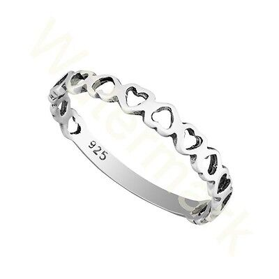 Sterling Silver Heart ❤️ Stacking  2.5mm Band Ring In Sizes G-Z /20 Sizes