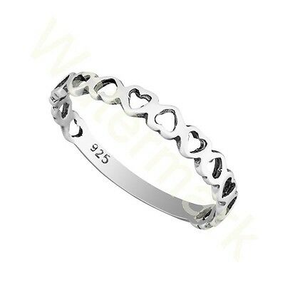 Sterling Silver Heart Stacking  2.5mm Band Ring In Sizes G-Z