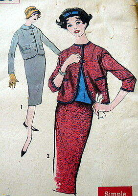 LOVELY VTG 1950s SUIT Sewing Pattern 11/31.5
