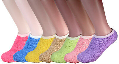 New Non Skid 6-12 Pairs Womens Soft Cozy Fuzzy Warm Bed Slipper Socks Size 9-11
