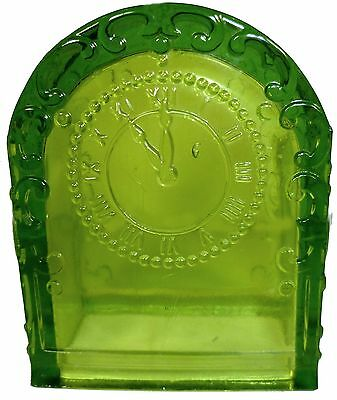 """Westmoreland Glass Moss Green Mantle Clock Pattern 3.25""""t Candy Container"""