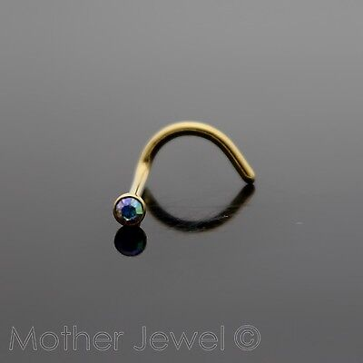 Yellow Gold Surgical Steel Aurora Womens Nose Ring Stud Bent Pin Twist Screw