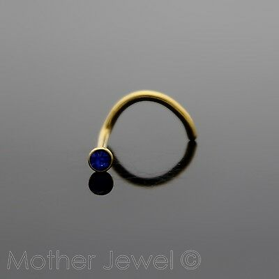 Yellow Gold Surgical Steel Royal Blue Womens Nose Ring Stud Bent Pin Twist Screw