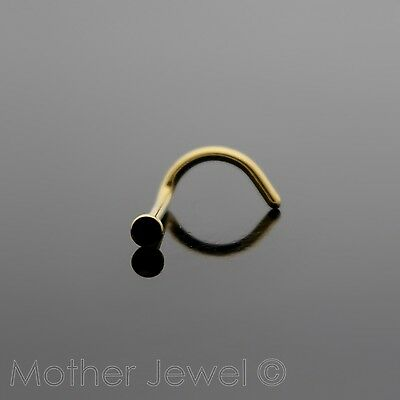Yellow Gold Surgical Steel Jet Black Womens Nose Ring Stud Bent Pin Twist Screw