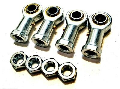 *4 pack M12 FEMALE KART TRACK ROD ENDS - ROSE JOINTS + LOCKNUTS