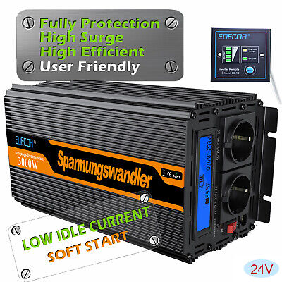3000W/6000W DC 24V a AC 220V Power Inverter Convertitore Invertitore LCD display