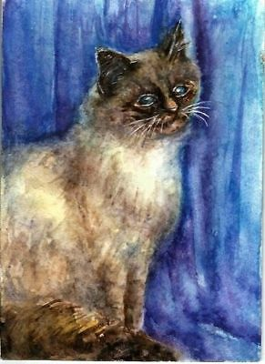 ACEO Original art card Cat pets kitty blue animals painting artist signed
