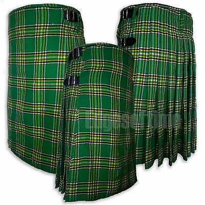 Traditional Irish Tartan Kilt With 3 Leather Belts & Metal Buckles