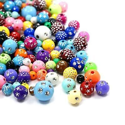 Acrylic Round Beads 6-14mm Mixed 30 Grams Art Hobby DIY Jewellery Making Crafts
