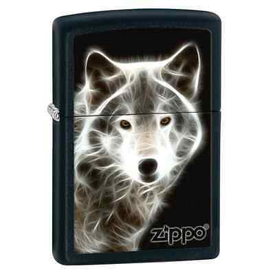Zippo 28303, White Wolf, Black Matte Finish Lighter, Full Size