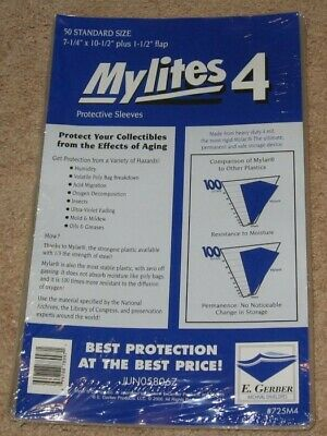 50 Mylites 4 Mil Mylar Bronze/Silver Comic Book Bags STANDARD +Full Back Boards