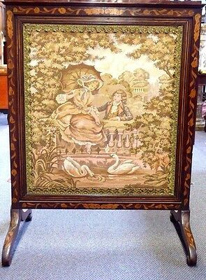 Antique English Inlaid Mahogany Adjustable Firescreen W/French Tapestry.1870