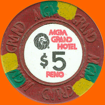 Mgm Grand Hotel $5 1978 First Issue Casino Chip Reno Nv - Free Shipping