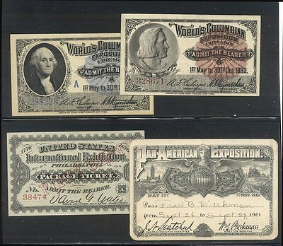 U.S. Lot of (4) Various Exposition Admission Tickets