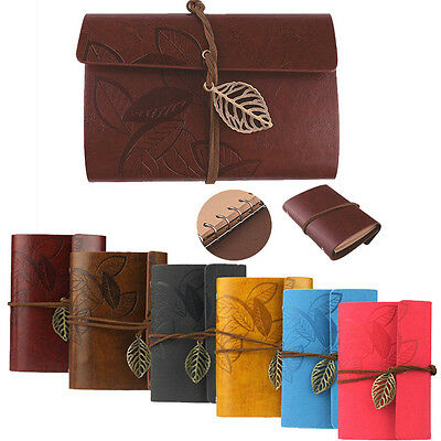 Vintage Leaf Wine Red PU Leather Cover Notebook Diary Journal Travel String Book