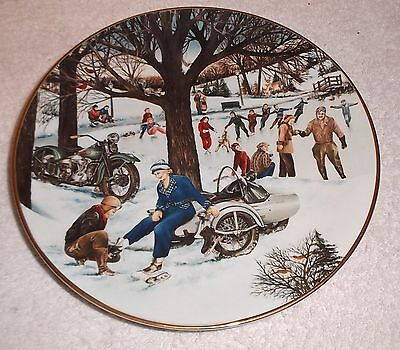 1991 Harley Davidson Christmas Plate w Box/Papers 1938 Skating Party