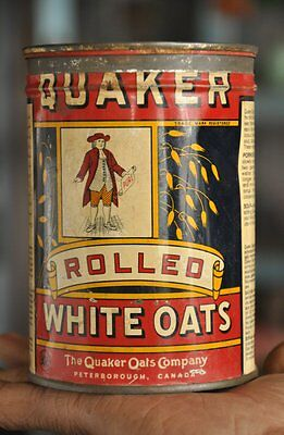 Vintage Quaker Rolled White Oats Ad Litho Tin Box