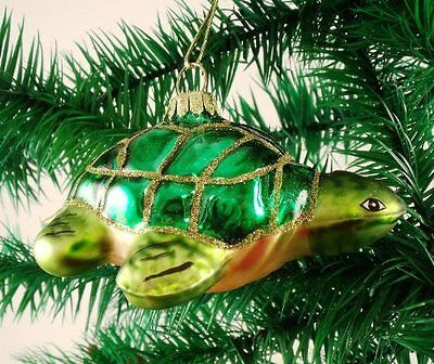 Sea Turtle Hanging Blown Glass Christmas Tree Ornament Beach Coastal Theme New