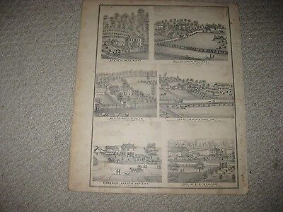 Antique 1875 Frankln Township Zoar Rogersville Tuscarawas County Ohio Hndclr Map