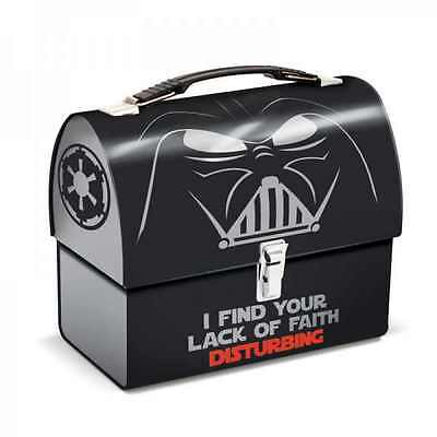 Darth Vader Lack Of Faith Domed Tin Tote Retro In Lunch Box Star Wars Film Gift