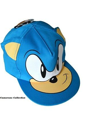 Kids / Boys Blue SONIC with Face & Ears Baseball Cap / Hat  Age 4/8 - 8/12 yrs