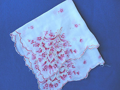 Sweet Vintage Handkerchief Hankie Pink Floral and White Embroidered 100% Cotton