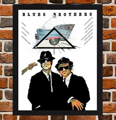 Framed The Blues Brothers Polish Movie Poster A4 / A3 Size In Black-White Frame