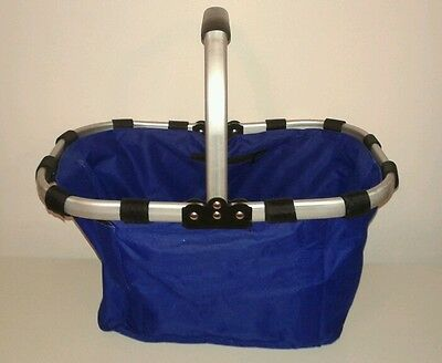 Fold Up Shopping Basket Aluminum Frame Blue Canvas