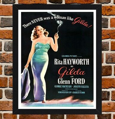 Framed Gilda Movie Poster A4 / A3 Size Mounted In Black / White Frame