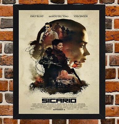 Framed Sicario Movie Poster A4 / A3 Size Mounted In Black / White Frame (Ref-1)