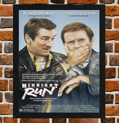 Framed Midnight Run Movie Poster A4 / A3 Size Mounted In Black / White Frame