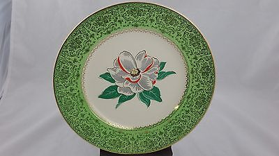 Salem Imperial China service plate, White Flower green boarder, 23 kt gold